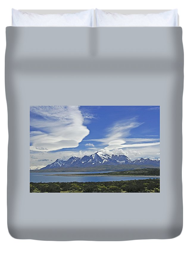 Chile Duvet Cover featuring the photograph Lago Sarmiento And The Paine Massif by Michele Burgess