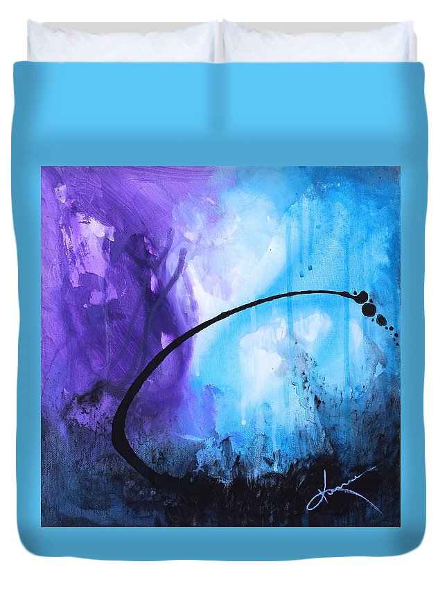 Lagoon Duvet Cover featuring the painting Lagoon by Kume Bryant