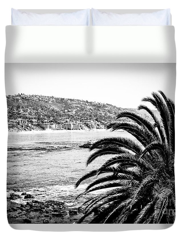 America Duvet Cover featuring the photograph Laguna Beach California In Black And White by Paul Velgos