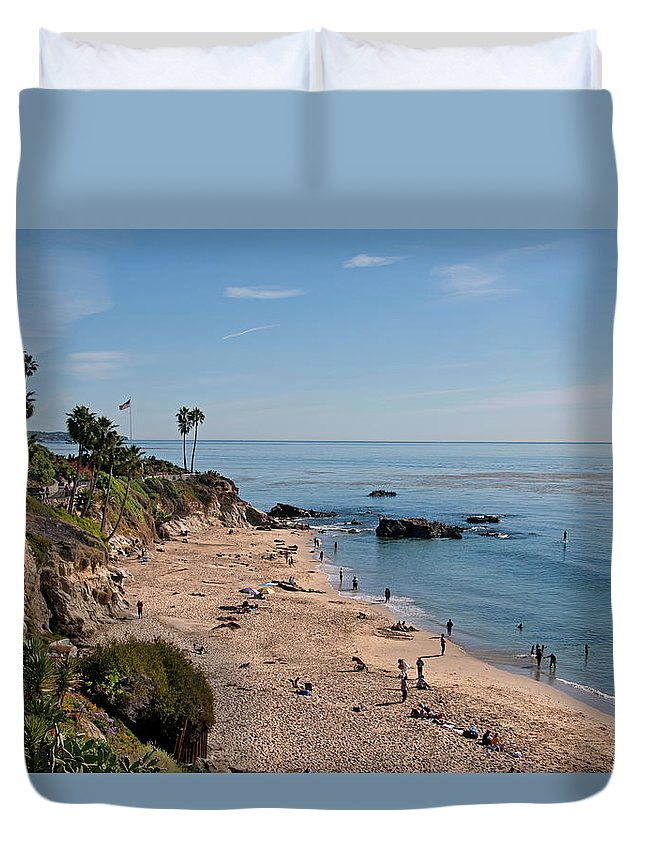 Tranquility Duvet Cover featuring the photograph Laguna Beach Cove by Mitch Diamond