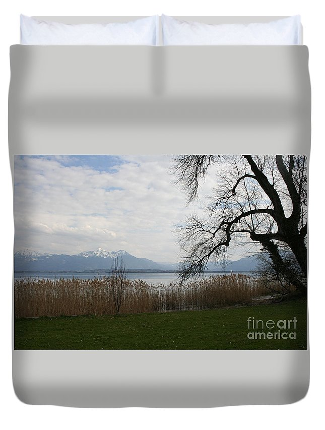 Lake Duvet Cover featuring the photograph Lake And Mountains by Christiane Schulze Art And Photography