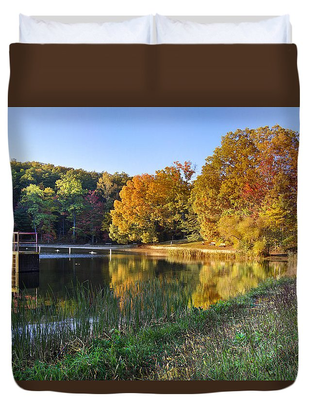Appalachia Duvet Cover featuring the photograph Lake At Chilhowee by Debra and Dave Vanderlaan