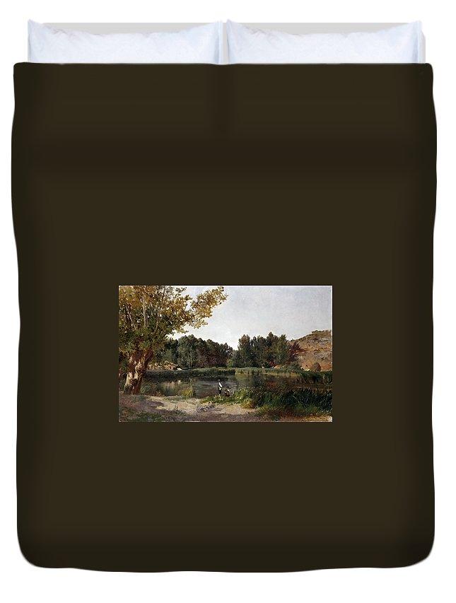 Carlos De Haes Duvet Cover featuring the painting Lake by Carlos de Haes