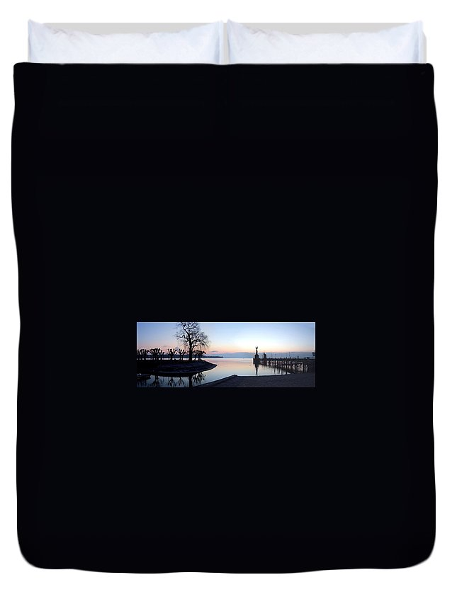 Lake Constance Duvet Cover featuring the photograph Lake Constance Sunrise by Steve Ondrus