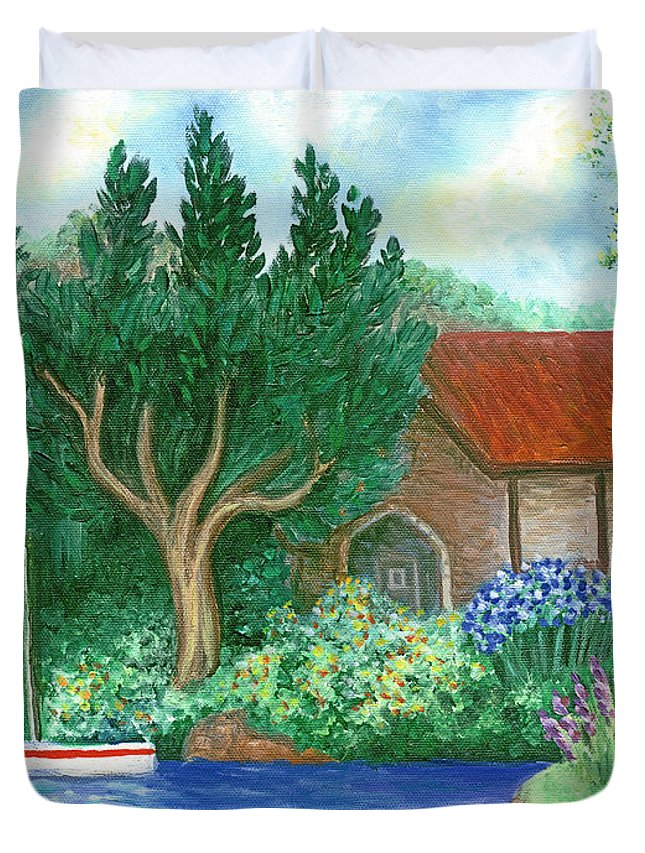 Lake Duvet Cover featuring the painting Lake Cottage by Linda Mears