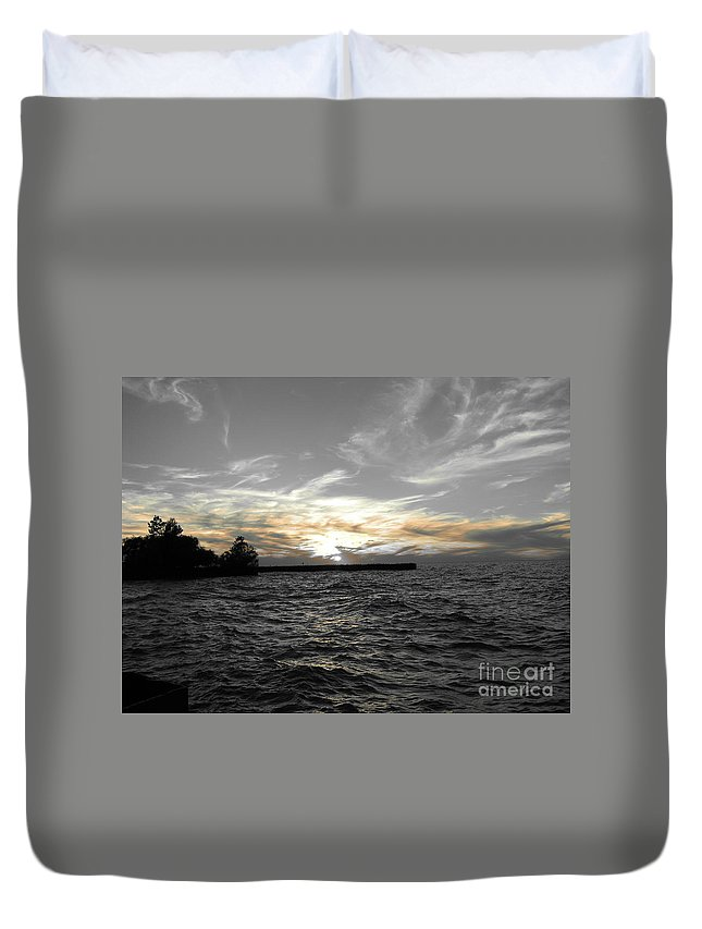 Lake Erie Duvet Cover featuring the photograph Lake Erie Lights by Michael Krek