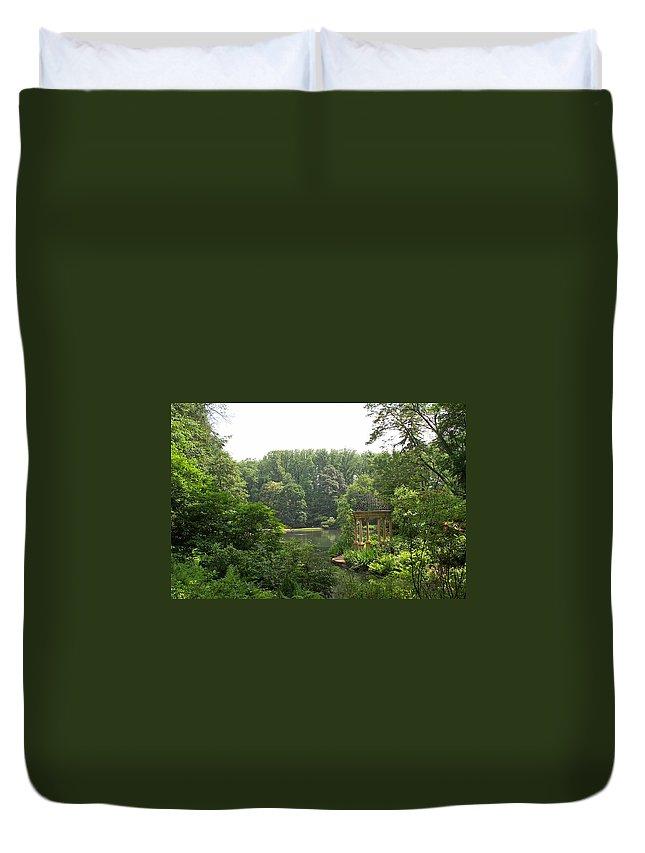 Lake Duvet Cover featuring the photograph Lake Gazebo by Barbara McDevitt
