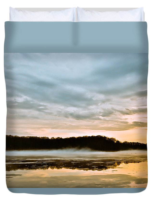 Youngstown Ohio Lake Hamilton Water Fog Sunset Sunrise Clouds Taaffe Hdr Nature Wildlife Duvet Cover featuring the photograph Lake Hamilton by Jimmy Taaffe