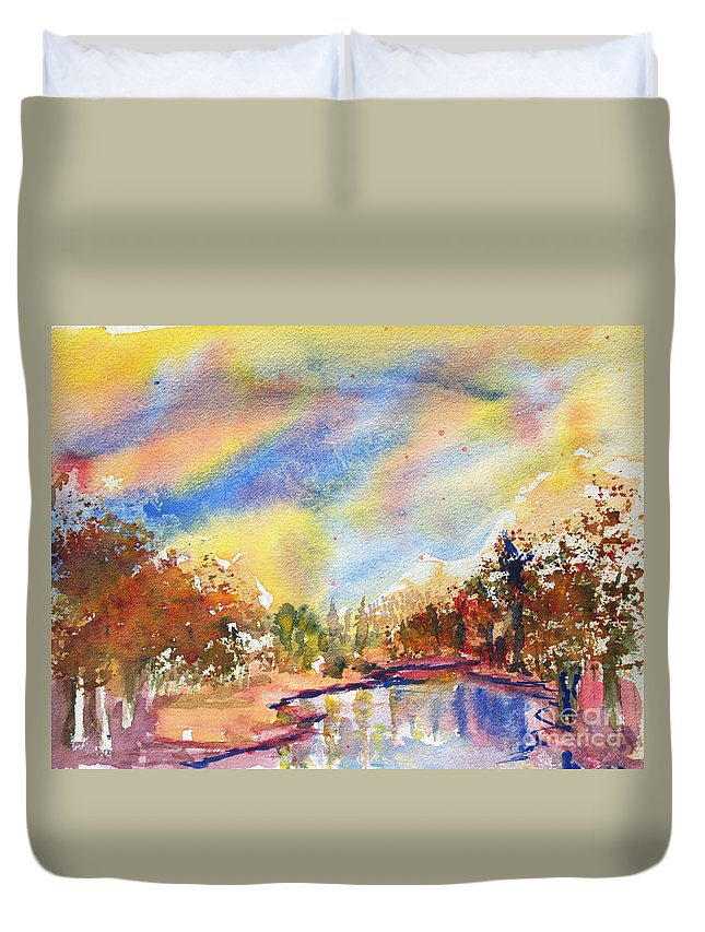 Watercolor Painting Duvet Cover featuring the painting Lake In The Woods by Walt Brodis