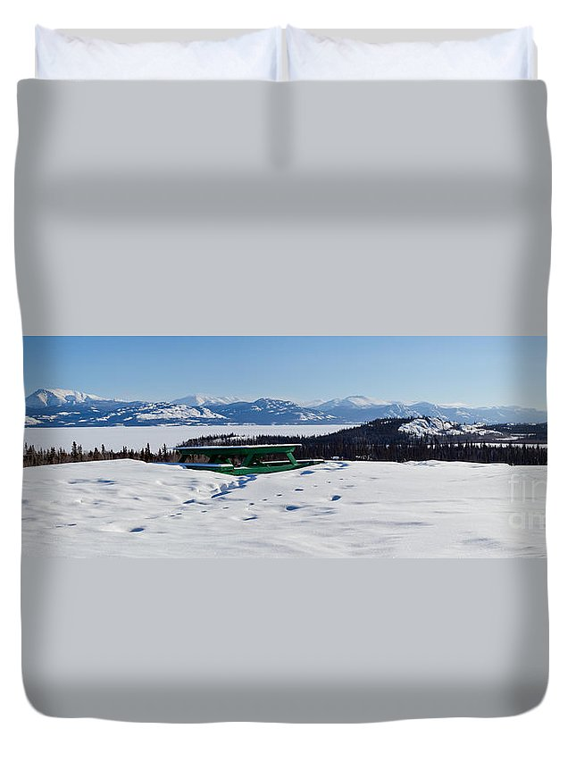 Blue Duvet Cover featuring the photograph Lake Laberge Yukon Territory Canada In Winter by Stephan Pietzko