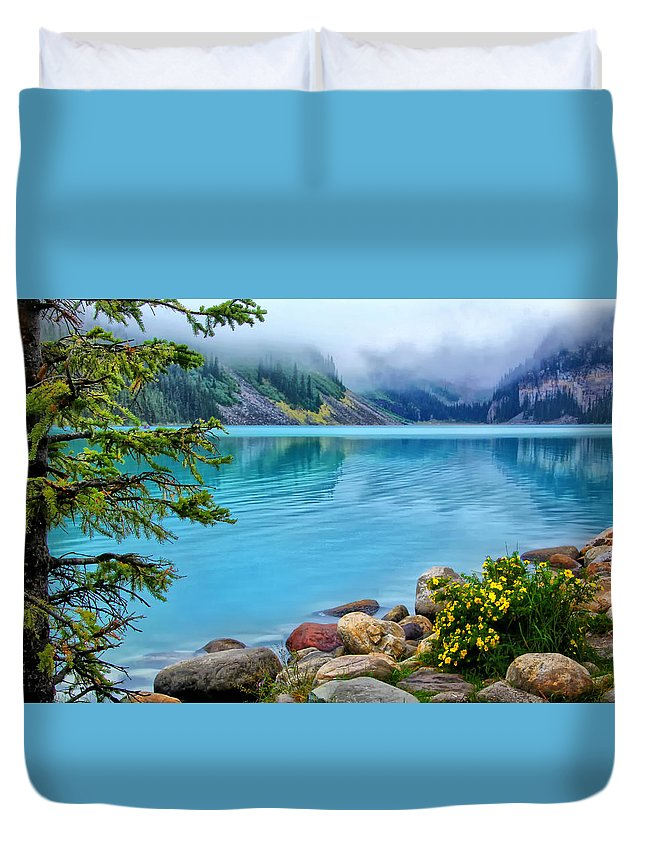 Lake Louise On A Cloudy Day Duvet Cover featuring the photograph Lake Louise On A Cloudy Day by Carolyn Derstine
