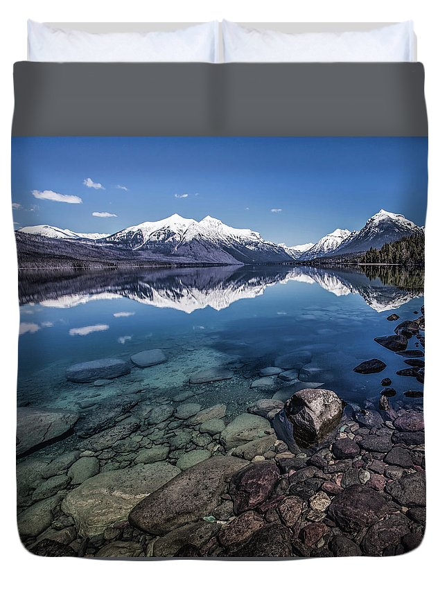 Scenics Duvet Cover featuring the photograph Lake Mcdonald, Montana by Aaron Aldrich Fine Art