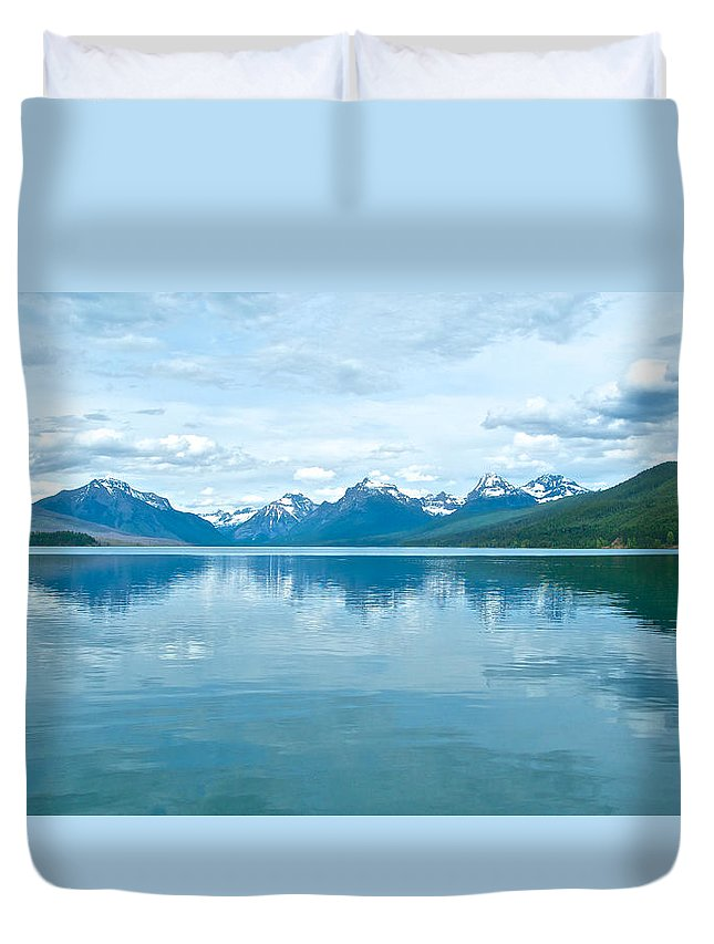 Lake Mcdonald Duvet Cover featuring the photograph Lake Mcdonald Reflection In Glacier National Park-montana by Ruth Hager