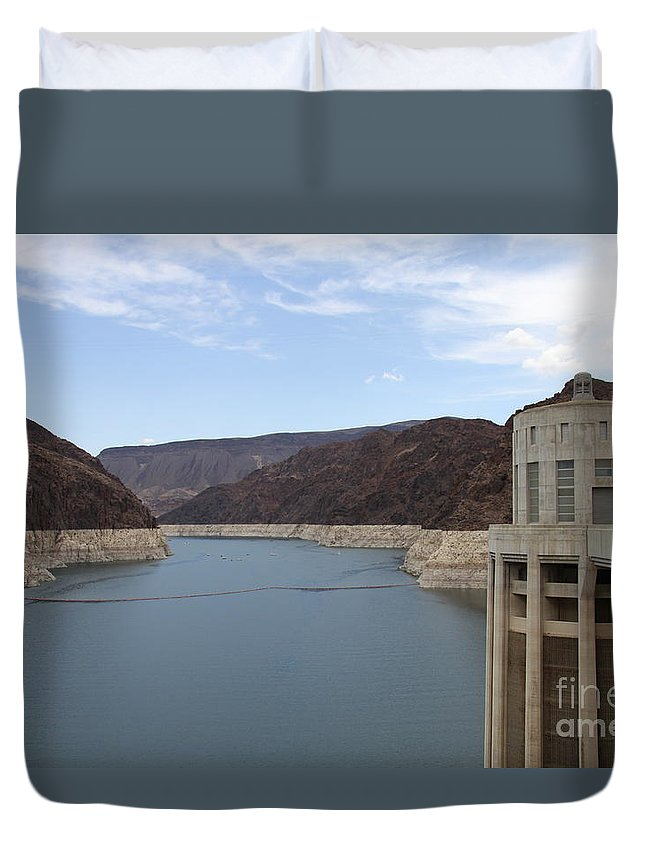 Lake Mead Duvet Cover featuring the photograph Lake Mead Seen From The Hoover Dam by Christiane Schulze Art And Photography