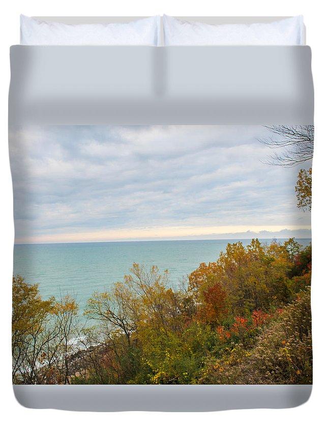 St. Joseph Michigan Duvet Cover featuring the photograph Lake Michigan Fall by Harold Hopkins