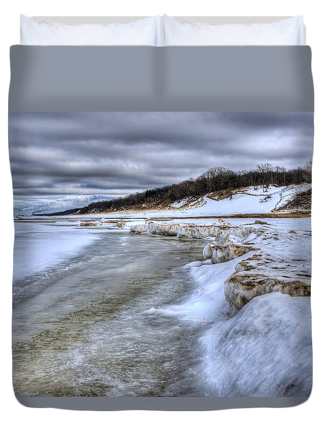 Lake Michigan Duvet Cover featuring the photograph Lake Michigan Shelf Ice by Scott Wood