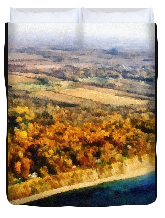 Beach Duvet Cover featuring the photograph Lake Michigan Shoreline In Autumn by Michelle Calkins