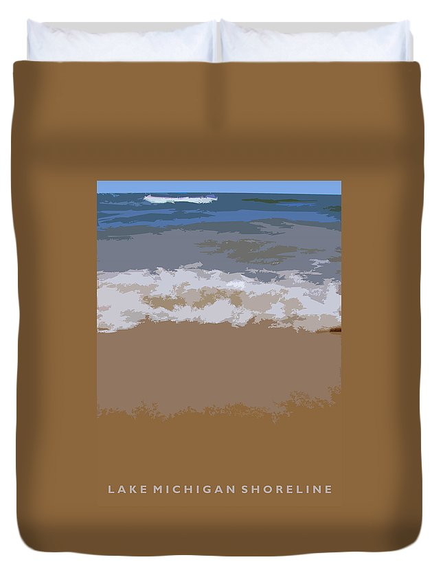 Beach Duvet Cover featuring the photograph Lake Michigan Shoreline by Michelle Calkins