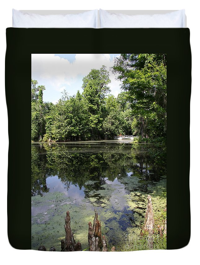 Lake Duvet Cover featuring the photograph Lake On The Magnolia Plantation With White Bridge by Christiane Schulze Art And Photography