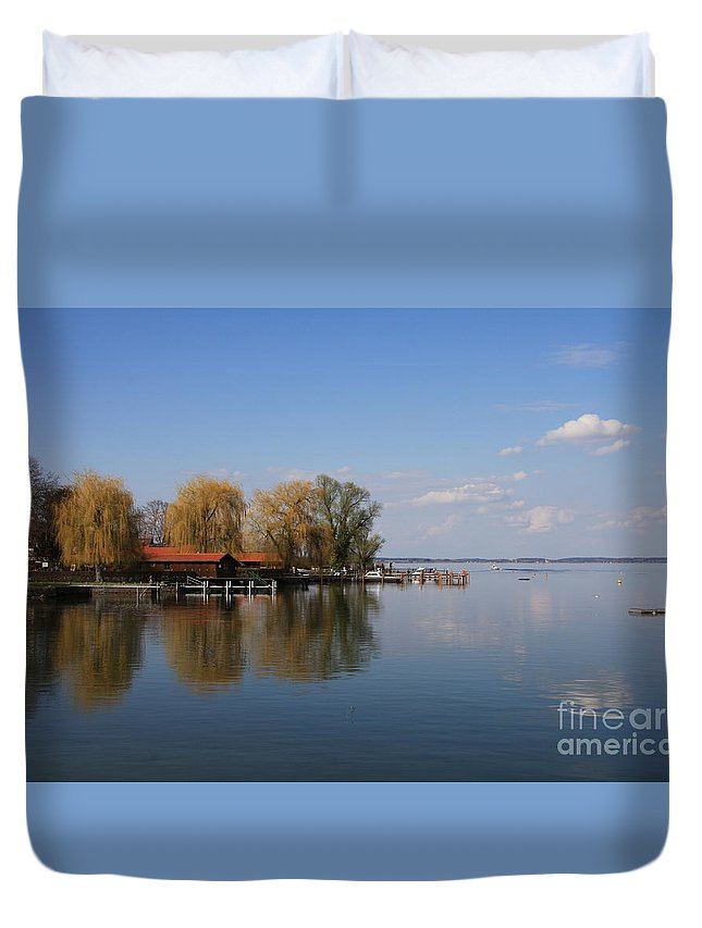 Lake Duvet Cover featuring the photograph Lake Reflection by Christiane Schulze Art And Photography