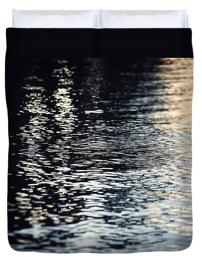 Lake Duvet Cover featuring the photograph Lake Ripples In Blue At Sunset by Lisa Russo