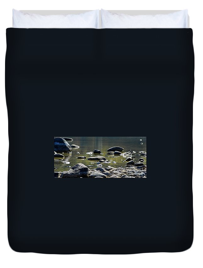 Lake Rocks Duvet Cover featuring the photograph Lake Rocks by Optical Playground By MP Ray