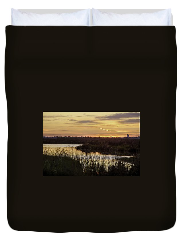 2013 Duvet Cover featuring the digital art Lake Shelby Sunrise by Michael Thomas