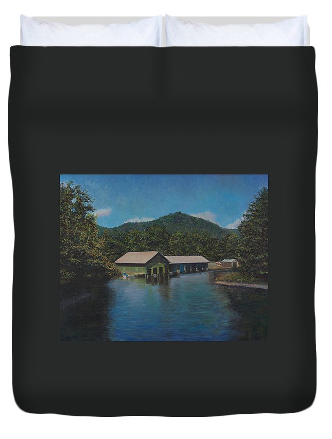 Lake Squam Duvet Cover featuring the painting Lake Squam Off Rte. 3 In Holderness Nh by David P Zippi