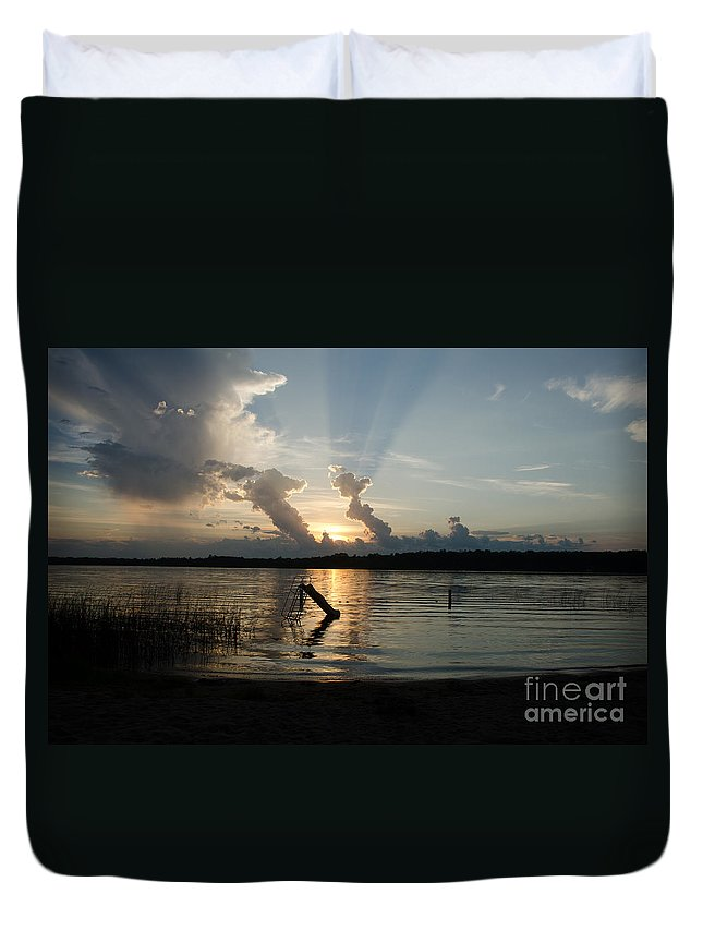 Ice Duvet Cover featuring the photograph Lake Sunset 11 by Cassie Marie Photography