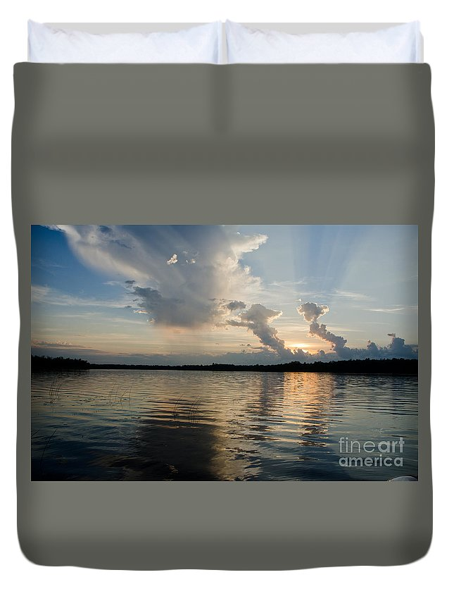 Ice Duvet Cover featuring the photograph Lake Sunset 13 by Cassie Marie Photography