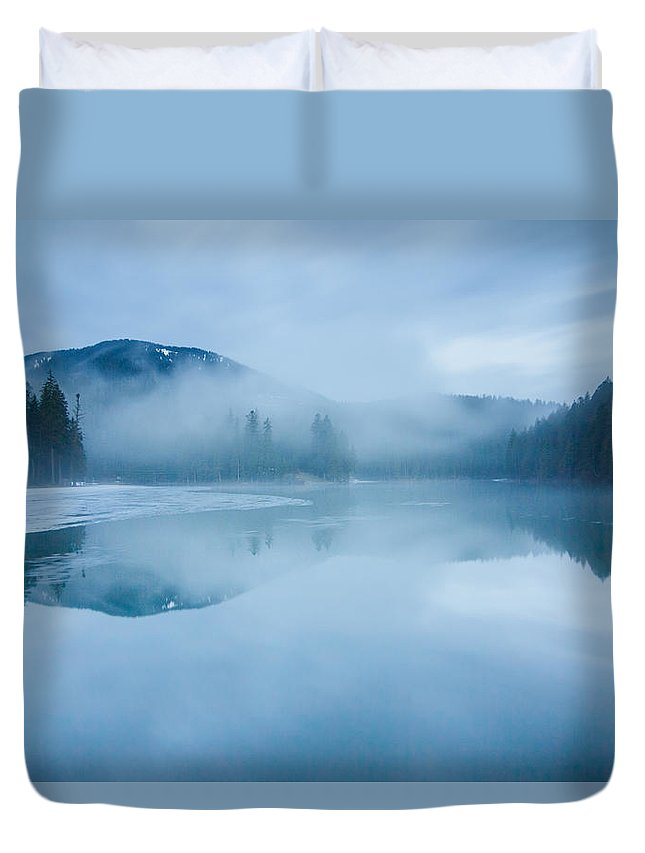 Scenics Duvet Cover featuring the photograph Lake Surrounded By Mountains And Forest by Verybigalex
