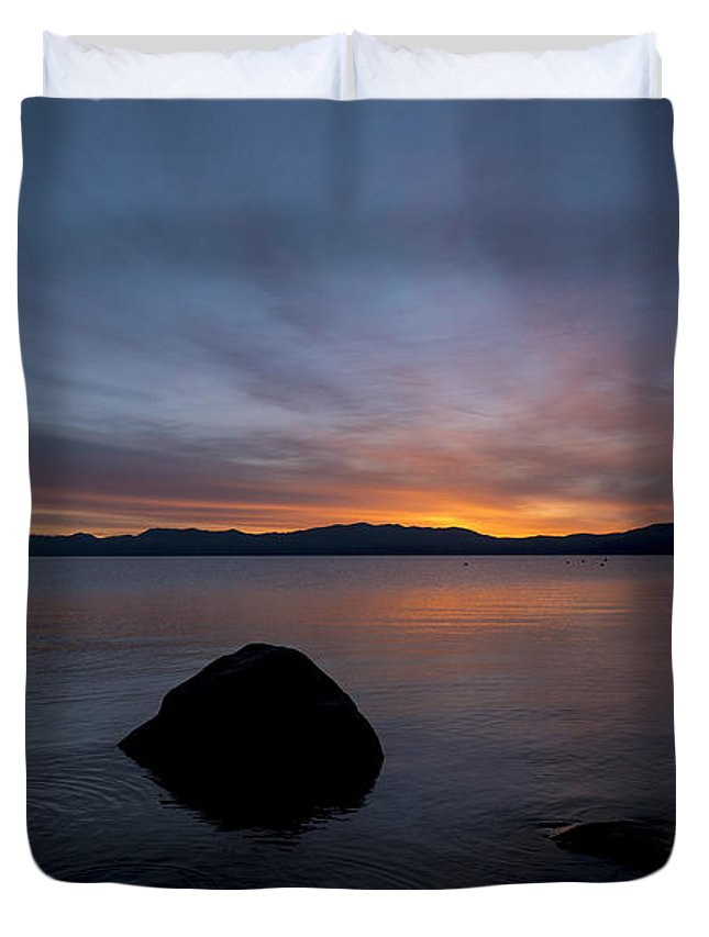 Lake Tahoe Duvet Cover featuring the photograph Lake Tahoe Dawn by Mike Herdering