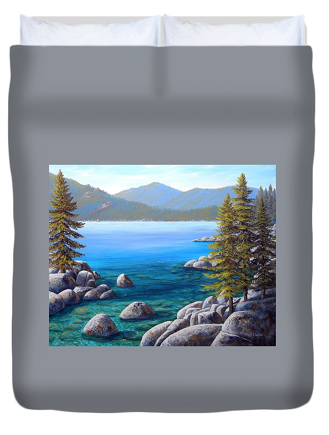 Lake Tahoe Duvet Cover featuring the painting Lake Tahoe Inlet by Frank Wilson