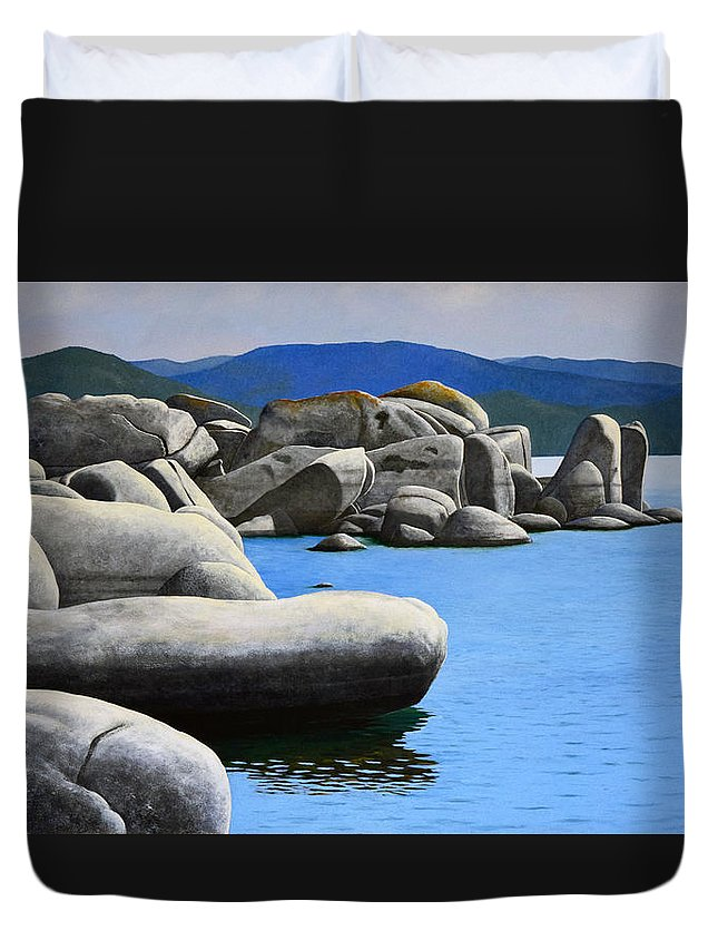 Lake Tahoe Rocky Cove Duvet Cover featuring the painting Lake Tahoe Rocky Cove by Frank Wilson