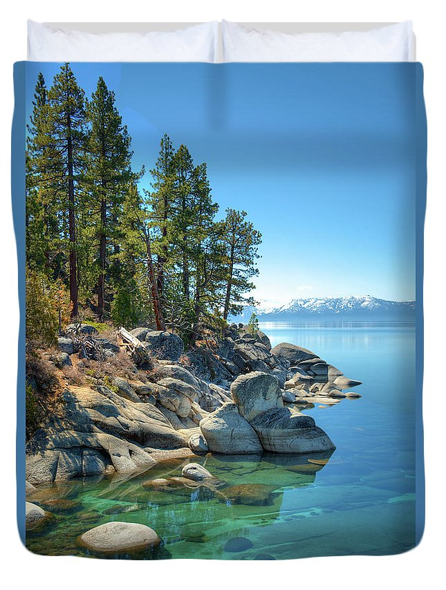 Scenics Duvet Cover featuring the photograph Lake Tahoe, The Rugged North Shore by Ed Freeman
