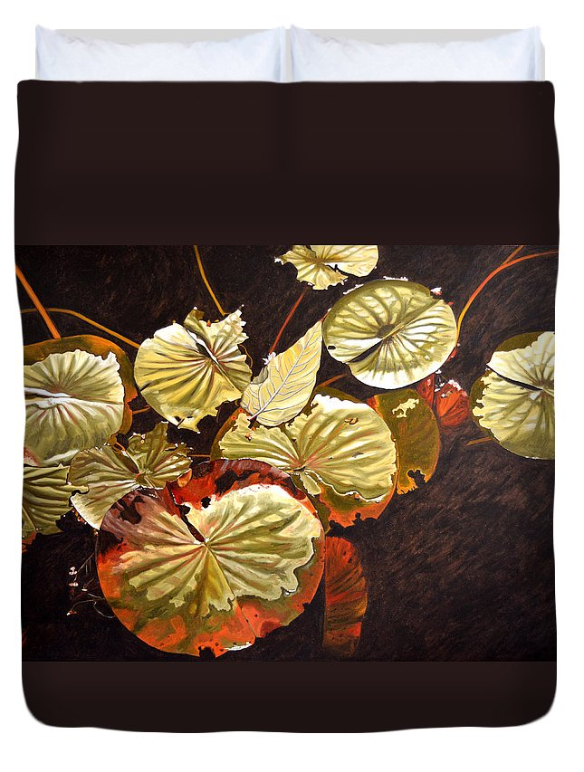 Waterlilies Duvet Cover featuring the painting Lake Washington Lily Pad 11 by Thu Nguyen