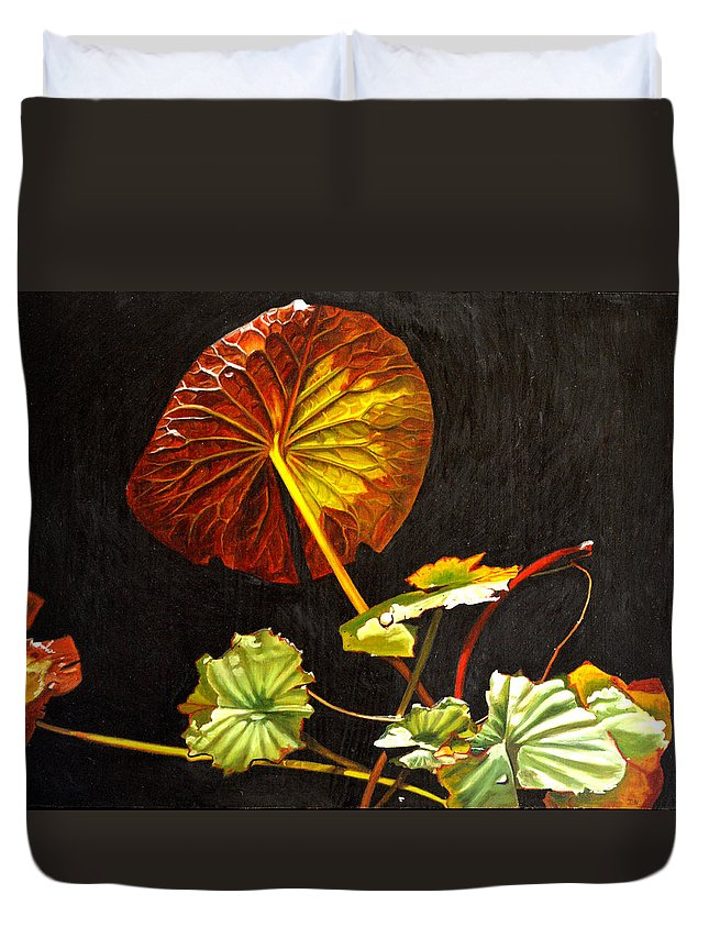 Lily Pad Duvet Cover featuring the painting Lake Washington Lily Pad 18 by Thu Nguyen