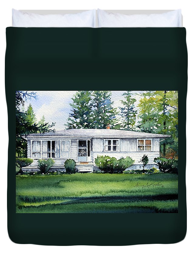 Cottage Duvet Cover featuring the painting Lakeside Cottage by Hanne Lore Koehler