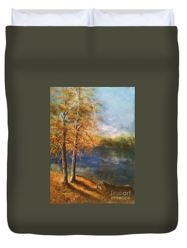 Fall Duvet Cover featuring the painting Lakeside Fall by Lizzy Forrester
