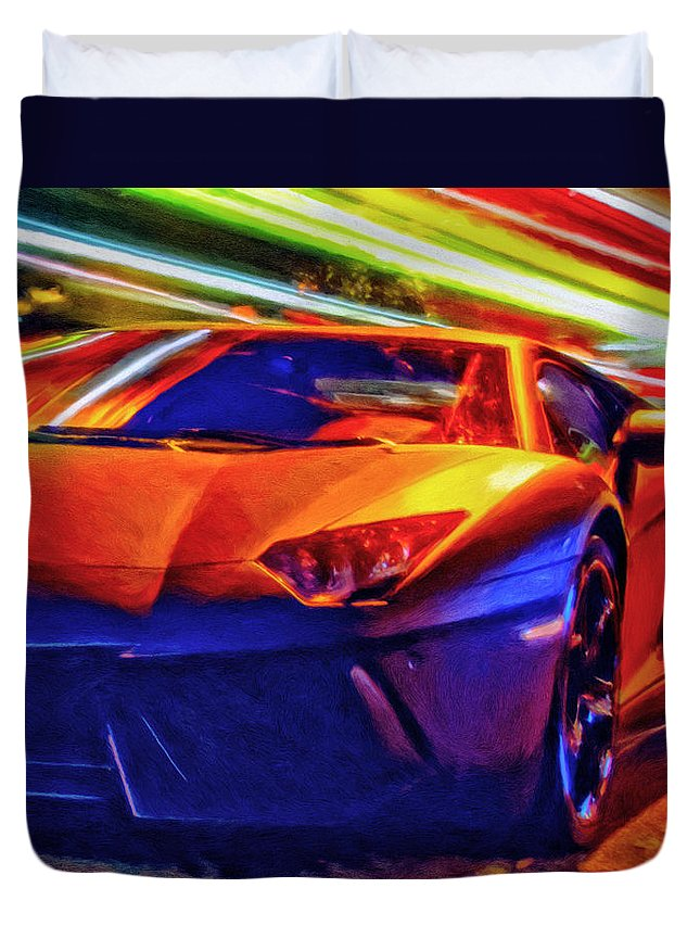 Exotic Cars Duvet Cover featuring the painting Lamborghini Aventador by Michael Pickett