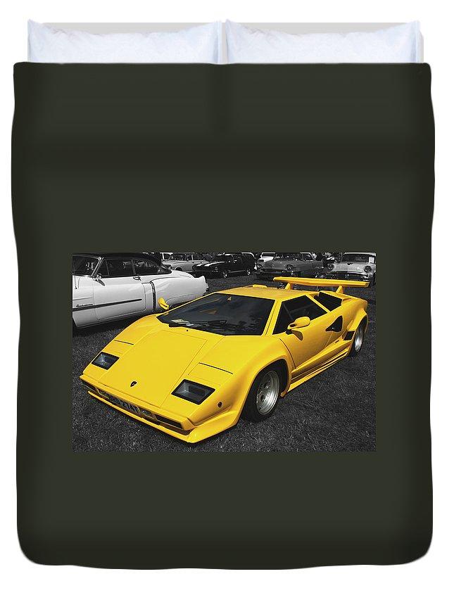 Lamborghini Duvet Cover featuring the photograph Lamborghini Countach by Chris Day