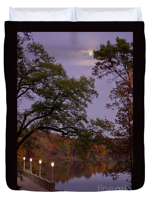 Evening Autumn Fall Moon Moonlight Lanterns Trees Forest Bridge Architecture Water Lake Mundelein Illinois Night Duvet Cover featuring the photograph Lamplight By Moonlight by Tracy Shrader