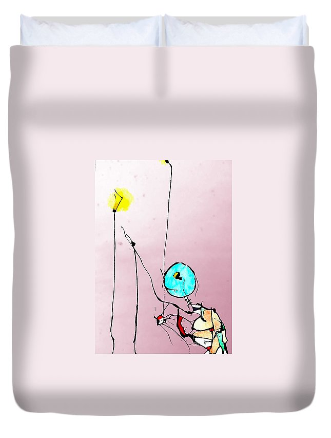 Ink Duvet Cover featuring the mixed media Lamplight by Jeff Barrett