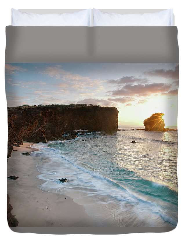 Scenics Duvet Cover featuring the photograph Lanai Sunset Resort Beach by M Swiet Productions