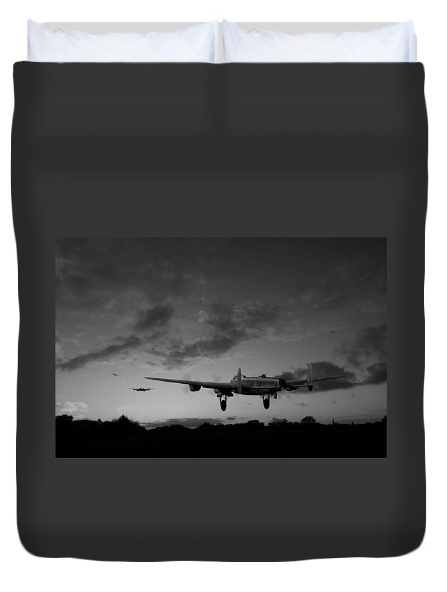 Lancaster Bombers Duvet Cover featuring the photograph Lancasters Taking Off At Sunset Bw by Gary Eason