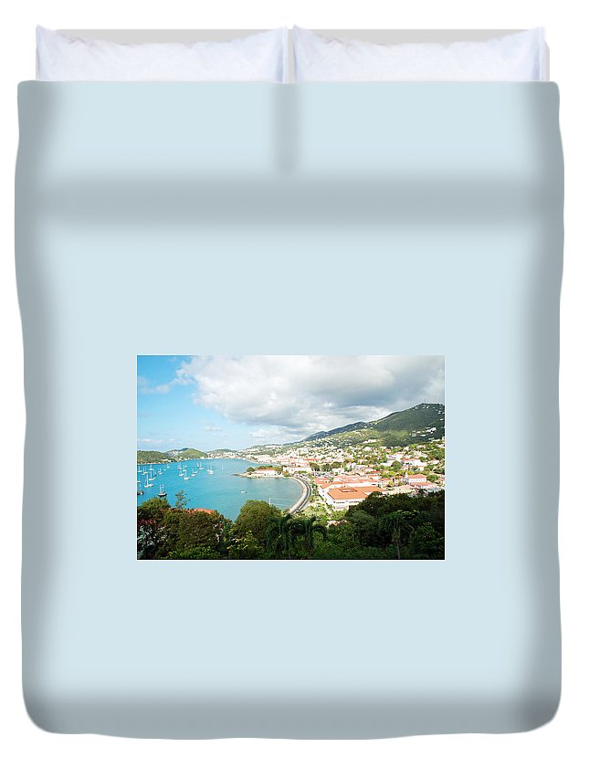 St Thomas Duvet Cover featuring the photograph Land And Sea by Aimee L Maher ALM GALLERY