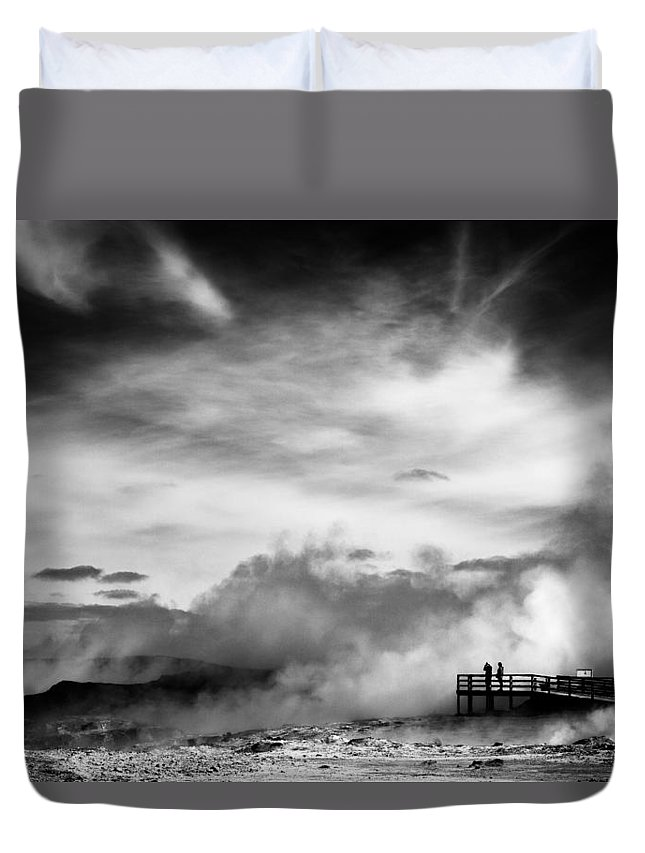 Reykjanes Duvet Cover featuring the photograph Land Of Fire by Dave Bowman
