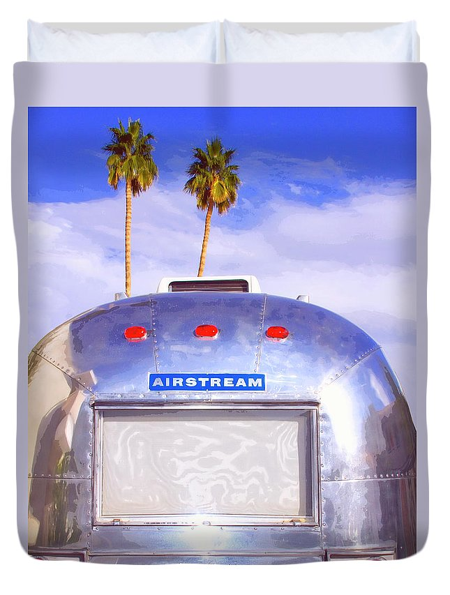 Airstream Duvet Cover featuring the photograph Land Yacht Palm Springs by William Dey