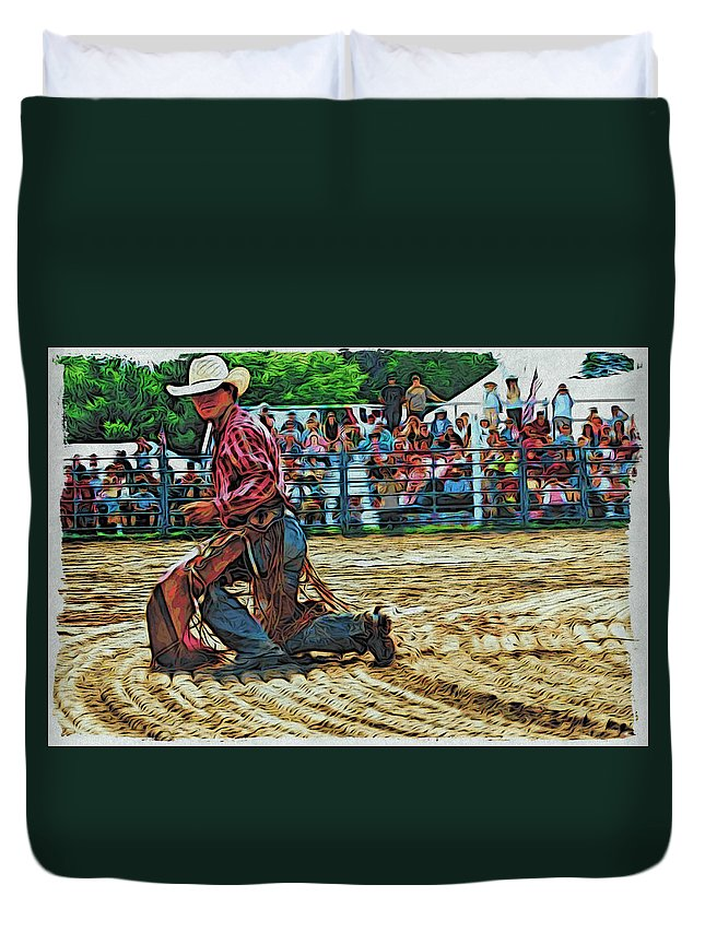 Bullrider Duvet Cover featuring the photograph Landing Like A Cat by Alice Gipson
