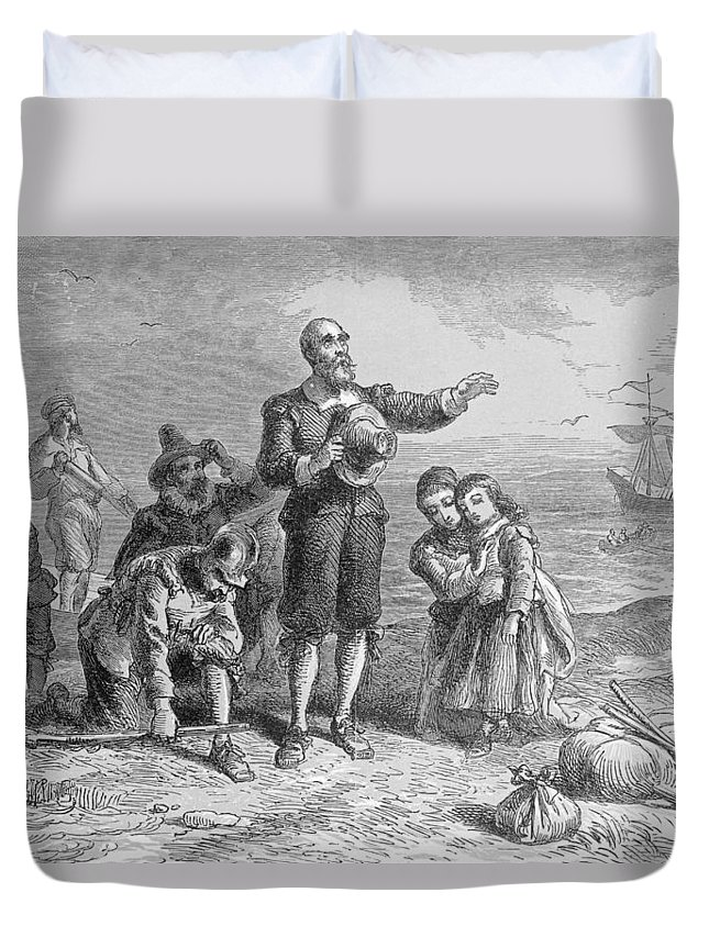 Pilgrim Fathers Duvet Cover featuring the photograph Landing Of The Pilgrims, 1620, Engraved By A. Bollett, From Harpers Monthly, 1857 Engraving B&w by Felix Octavius Carr Darley